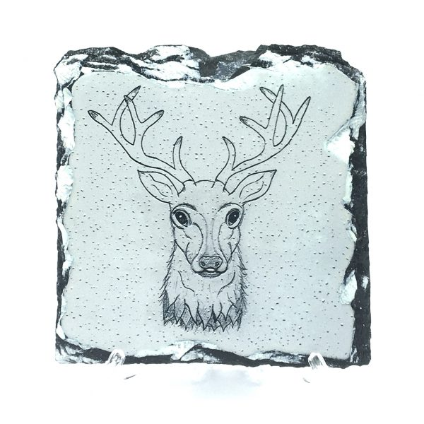 Stag rock slate coaster